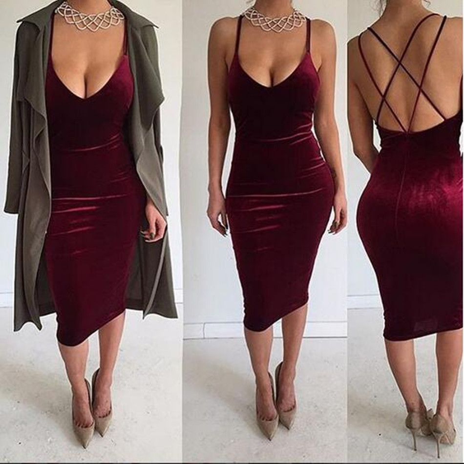 2017 ladies sexy strap sundress women club party velvet dress backless low cut slip bandage pencil dress robe femme vestido dame(China (Mainland))