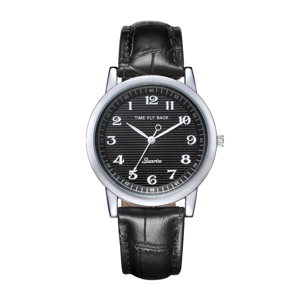Mens Counterclockwise Watch Student Watch Stylish Vintage Quartz Waterproof Black Dial Watch Leather Strap Time Fly Back <br>