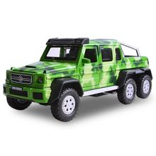 Hot 1:32 scale Off-road vehicle metal diecast cars military Benz brabus G63 AMG 6x6 Pickup model pull back alloy toys Collection