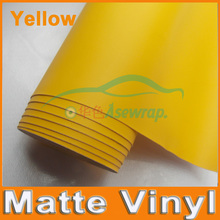 Free shipping high quality 30M/lot yellow Matte Vinyl Wrap with Air release Satin Matt Black Foil Vehicle Wrap Film car Sticker