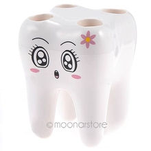 4 Hole Novelty Lovely Teeth Pattern Style Toothbrush Holder Stand Durable ABS Brush Rack Tooth Brush Shelf Shaving Razor Holder