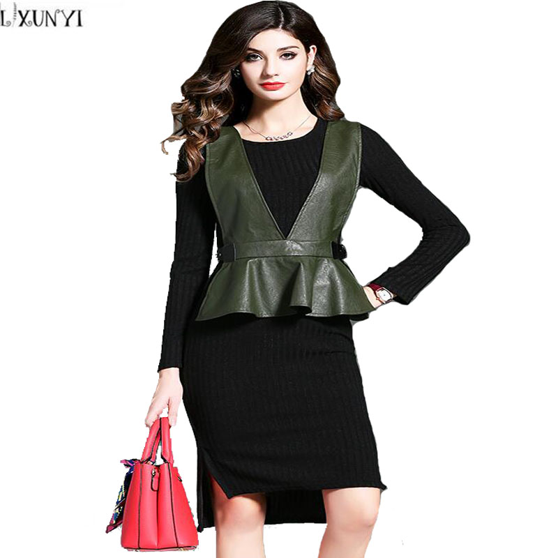 Factory Outlet 2 Piece Set Dress Autumn Women Temperament Ruffles Leather Vest +Knitted Dress Ladies Elegant Dress Fashionable Îäåæäà è àêñåññóàðû<br><br>