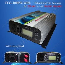 DC 22-60V to AC 110V/120V/220V/230V/240V Wind Tie Grid Inverter 1000W with LCD and Dump Load