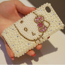 3D Sparkling Bling Crystal Diamond Pearl Case for apple iphone 4 4s 5 5s 5c rhinestone hello kitty cute lovely hard back case