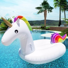 200*90*120cm Giant Inflatable Unicorn Pool Float 2017 Newst Ride-On Swimming Ring Adult Children Water Holiday Party Toy Piscina(China)