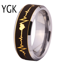 YGK Brand Hot Sale 8MM Golden Surface with Silver Bevel Forever Love HeatBeat Men's Wedding Tungsten Ring(China)
