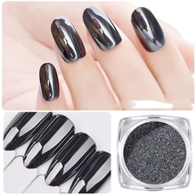 Nail jewelry mirror black magic mirror powder nail flash pure black light Aurora black 1g installed(China)