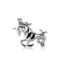Trendy Alloy Unicorn Perfume Diffuser Locket Pendants Beads Charms For Women Men DIY Necklace Making Jewelry Accessories 10PCS