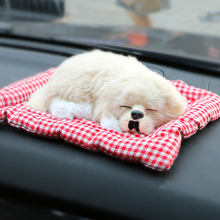 ABS Plush Dogs Car Decoration Ornament Simulation Sleeping Dog Toy Press Sounding Auto Dashboard Ornaments Cute Car Accessories(China)