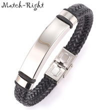 Match-Right Men's Leather Bracelets Metal Bracelet Cuff for Men Stainless Steel Bracelets Smooth Bangles Men's Wristband BR012(China)