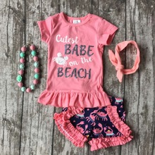 baby Girls Summer clothes girls cutest babe on the beach outfits baby girls crab clothing with matching accessories(China)