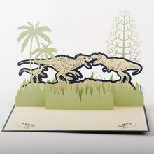 (10 pieces/lot)Wonderful Design 3D Pop up Children Birthday Card Handmade Paper Art Carving Dinosaur Jurassic Park Greeting Card