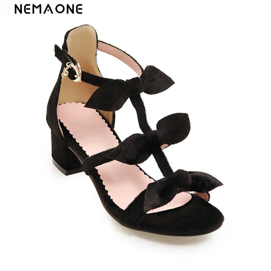 2018 New women sandals square heel women shoes T-strap bowtie summer shoes sweet ladies shoes<br>