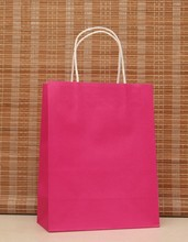40PCS/LOT Hot Pink kraft paper bag with handle Party Gift Paper Bags Wedding Favors Multifunction Festival gift bag