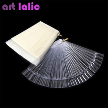 New Charming Statement 50 Pcs False Nail Art Board Tip Stick Polish Gel Foldable Display Beauty Practice Fan Clear Natural