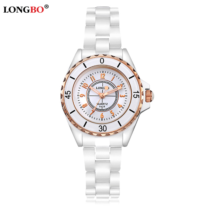 LONGBO New Fashion Women Watches Pure White Ceramic Bracelet Elegant Luxury Dress Watch Ladies Popular Banquet Quartz Wristwatch<br><br>Aliexpress
