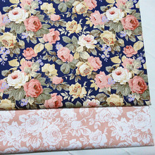 ZY So Pretty 50x40cm Big Blooming Rose Flowers Printed Cotton Fabric Bundle For DIY sewing Doll Cloth(China)