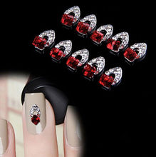 10PCS 3D Red Cube Rhinestone Crystal Alloy DIY Decoration Tips Nail Art Stickers