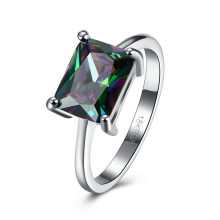 JEXXI Big Promotion Women Girls Fashion Black Gold Promise Rings With Square Cut AB Color CZ Party Jewelry