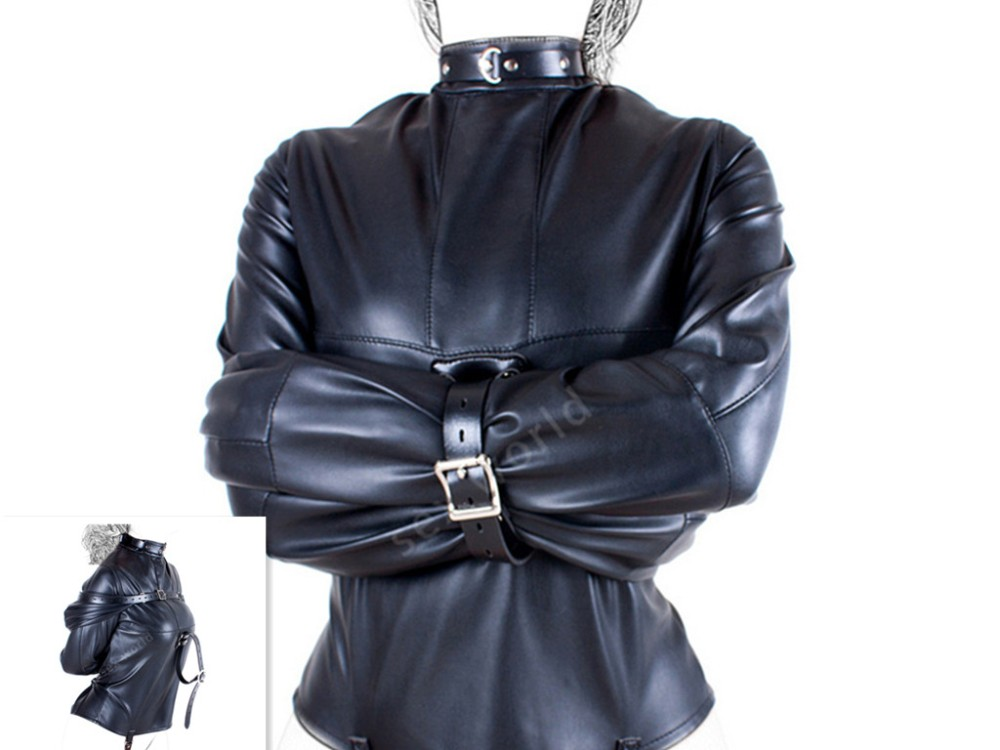 PU Leather Woman Straitjacket BDSM Adult Couple Games Straight Jacket Adjustable Fetish Harness Body bondage Do Customer Size <br>