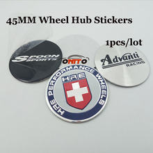 For Advanti /Spoon Sport/HRE logo 1pcs Car Styling 45mm Car Wheel hub Sticker Auto Wheel Center Label Emblem Badge Decals(China)