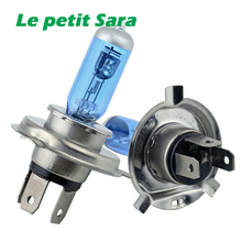 2PCS/L  12V 90/100W H4 Halogen Lamp 6000k Car Halogen Bulb Xenon Dark Blue Glass Super White car light source parking