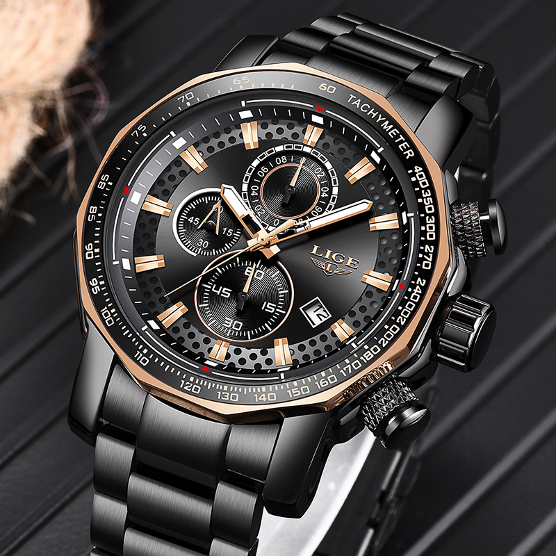2020 LIGE New Fashion Mens Watches Top Luxury Brand Military Big Dial Male Clock Analog Quartz Watch Men Sport Chronograph watch