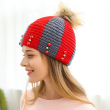 Pearl Accessory Women Warm Hats Beanie Hat Winter Knitting Hat for Woman Cap Lady Beanie Knitted Caps Women's Hats Outdoor Sport