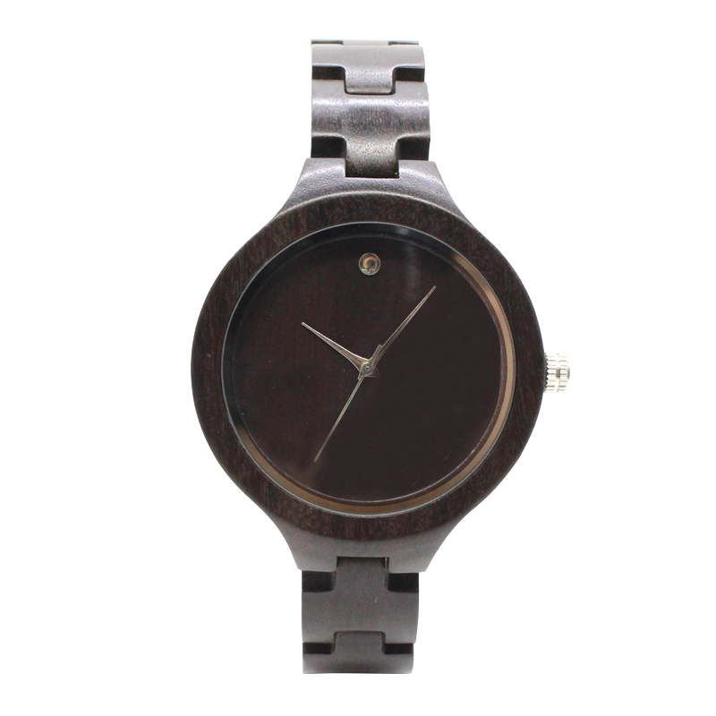 TJW  2017 new womens sandalwood watch fashion trend gift for ladies watches football to commemorate the  Ebony<br>