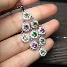 natural Multicolor tourmaline Pendant natural gemstone pendant S925 silver luxurious round Circle girl party gift ,jewelery(China)