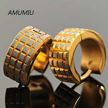 AMUMIU brincos 2017, Little Squares 316l Stainless Steel Men Gold Earrings Stud,HZE008