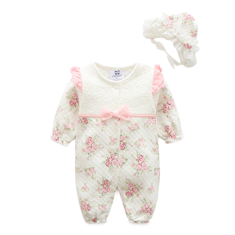 2017 princess baby rompers + cap suit set  baby girls clothing 1 year birthday gift  Baby Jumpsuit , print flower baby clothes<br><br>Aliexpress