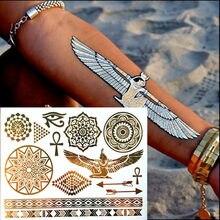 #110 Temporary tattoo Gold tattoo Flash Tattoos sunflower Metallic Sex Products jewelry Henna Tatouage Body art tatto stickers(China)