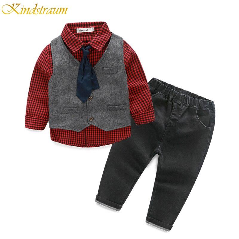 Kindstraum Boys Spring Formal Suits Plaid Shirt + Vest + Pants + Tie Formal Sets for Children Kids Party Gentleman Wear, HC813<br><br>Aliexpress