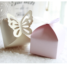 100Pcs Butterfly Candy Box DIY Folding Party Wedding Decoration Gift Paper Favors Boxes White/Pink for Wedding Decoration(China)