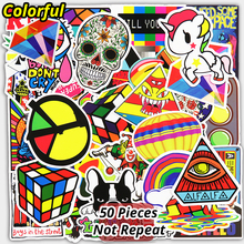 New Mixed 50 Pcs Colorful Sticker For Bicycle Handbag Laptop Luggage Decoration Decal JDM Doodle PVC Waterproof Cool Sticker(China)