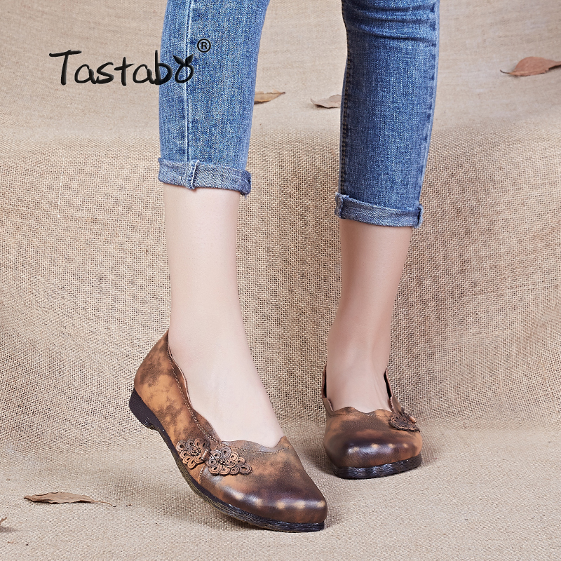 Tastabo Retro Loafers Women Shoes Genuine Leather Shoes 2017 Spring Summer shallow women flats Handmade soft Casual Shoes Women<br>