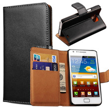Vintage Wallet Stand Genuine Leather Case For Samsung Galaxy S2 i9100 SII S II Phone Bag Cover with Card Holder Flip Coque