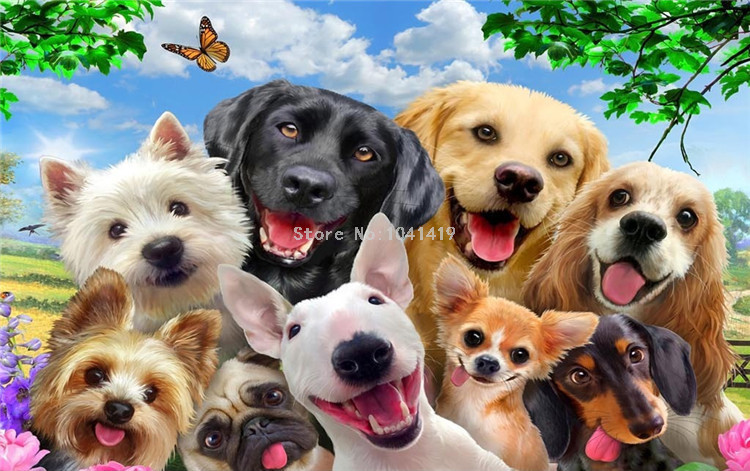 HTB14xMkSFXXXXc1XFXXq6xXFXXXd - 3D Wallpaper Cute Cartoon Lawn Dog Animal Photo Wall Murals Children Kids Bedroom Backdrop Wall Home Decor Papier Peint Enfant
