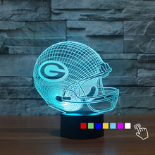 Acrylic 7 Color Changing Sport Cap 3D Night Light Green Bay Packers Football Helmet Desk Table Lamp Bedroom Lights for Kids Fans(China)