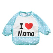 2017 Children Bib Cartoon Cute Printed Long Sleeve Baby Kids Bibs Infant Toddler Waterproof Apron Clothing 8 Pattern