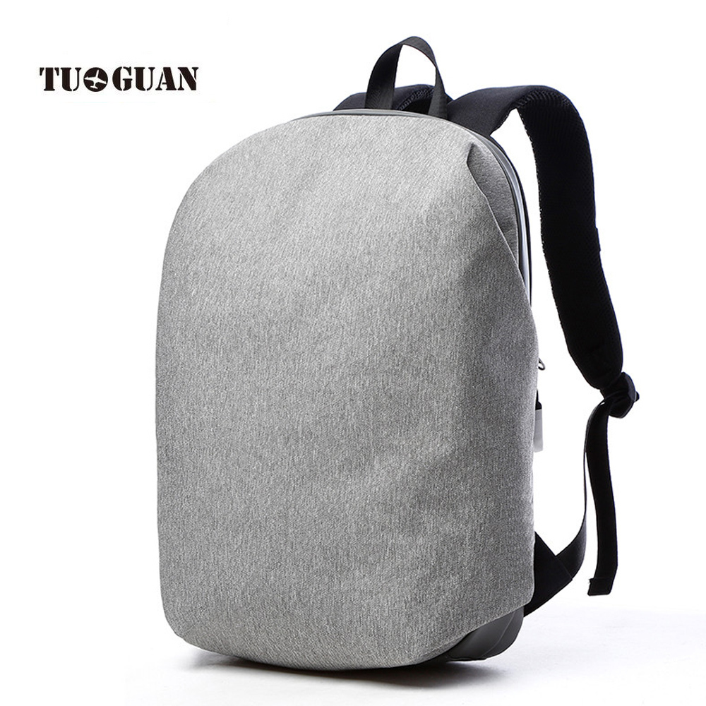 TUGUAN New Simple Casual Famous Brand Zipper Mens Daily Backpack Antiefproof Leather Bottom Laptop Backpack Lightweight Bagpack<br>