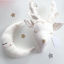 2016 Fashion Kids Baby Handmade Stuffed Toys Animals Dear Style Room Decoration Wall Decoration Size 35X25CM Christmas Gift