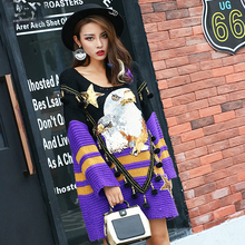 New Fashion Eagle Sequin Women Autumn Mini Dress Hairball Knitting Patch Black Purple Fight Loose Straight Dresses(China)