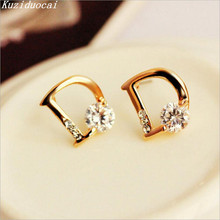 2017 New Hot ! Super Fashion Fine Jewelry Sparkling Gold Color Zircon Letter D Individuality Stud Earrings For Women Gifts E-21