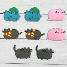 80pcs Pusheen Cartoon PVC Shoe Buckles Shoe Charms Fit Croc For Shoes&wristbands with Holes Furniture Accessories Party Supplies