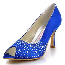 Sexy Blue Women Shoes EP11021 Peep Toe Rhinestone High Heels Wedding Shoes Satin Woman Prom Pumps