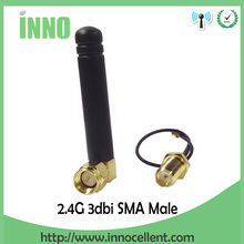 5pcs 2.4Ghz antenna 2.4g wifi antenna SMA male right angle connector 3dbi signal booster + PCI U.FL IPX to RP-SMA Pigtail Cable