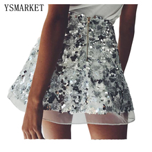 New Stylish Sexy Sequined Mini Glitter Skirt High Waist A-line Party Skirts Hot Female Petite Tight Short Faldas Clubwear H0280