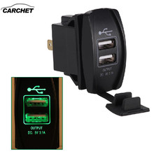 CARCHET Dual USB Charger 3.1A with LED indicator Waterproof Two USB Charging Port Car Kit Charger Adapter Socket for Cars Truck(China)